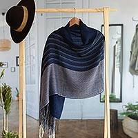 Alpaca blend shawl, 'Magnificent Blue' - Hand Woven Blue Striped Alpaca Blend Shawl