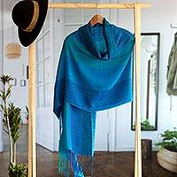 Alpaca blend shawl, 'Serene Beauty' - Hand Woven Striped Alpaca Blend Shawl from Peru