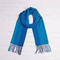 Alpaca blend scarf, 'Tranquil Paradise' - Hand Woven Striped Alpaca Blend Wrap Scarf from Peru
