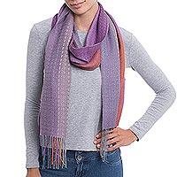 Alpaca blend scarf, 'Alluring Grace' - Hand Woven Striped Alpaca Blend Wrap Scarf from Peru