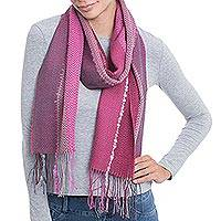 Alpaca blend scarf, 'Perfect Pink' - Hand Woven Striped Alpaca Blend Wrap Scarf from Peru