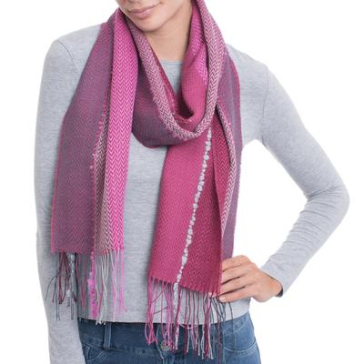 Alpaca blend scarf, 'Perfect Pink' - Hand Woven Striped Alpaca Blend Wrap Scarf from Peru
