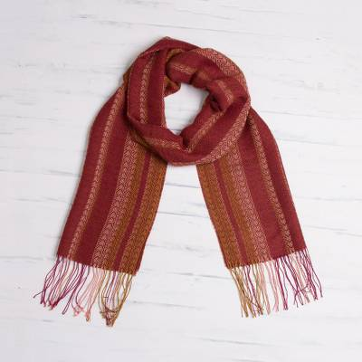 Alpaca blend scarf, 'Sophisticated Beauty' - Hand Woven Striped Alpaca Blend Wrap Scarf from Peru