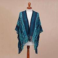 Alpaca blend ruana, 'Ocean View' - Hand Woven Striped Alpaca Blend Ruana from Peru
