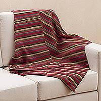 Alpaca blend throw blanket, 'Comfort of Home' - Hand Woven Striped Alpaca Blend Throw Blanket from Peru