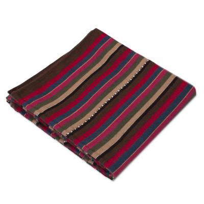 Hand Woven Striped Alpaca Blend Throw Blanket from Peru