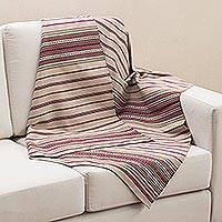 Alpaca blend throw blanket, 'Memories of Home' - Hand Woven Striped Alpaca Blend Throw Blanket from Peru