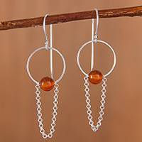 Agate dangle earrings, 'Swinging Loops in Orange' - Orange Dyed Agate and Sterling Silver Dangle Earrings