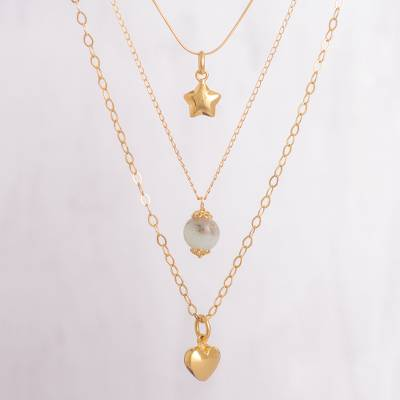 Gold plated opal pendant necklace, 'Golden Cosmos' - Gold Plated Three Chain Pendant Necklace with Opal