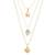 Gold plated opal pendant necklace, 'Golden Cosmos' - Gold Plated Three Chain Pendant Necklace with Opal (image 2a) thumbail