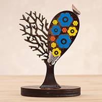Aluminum sculpture, 'Well-Loved Tree' - Flowering Heart Tree with Butterflies Aluminum Sculpture