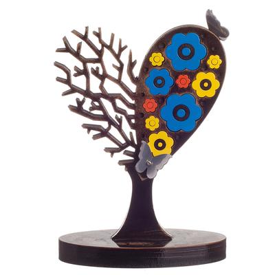 Aluminum sculpture, 'Well-Loved Tree' - Flowering Heart Tree with Butterflies Aluminum Sculpture