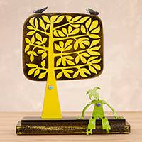 Aluminum sculpture, 'Favorite Tree' - Green Harlequin Resting Under Yellow Tree Aluminum Sculpture