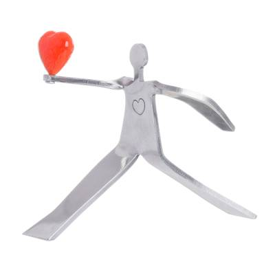 Aluminum sculpture, 'Reach for Love in Orange' - Figure Offering Bright Red-Orange Heart Aluminum Sculpture