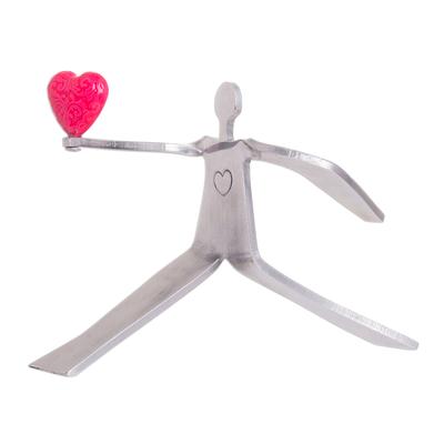 Aluminum sculpture, 'Reach for Love in Fuchsia' - Figure Offering Bright Fuchsia Heart Aluminum Sculpture