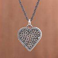 Sterling silver filigree locket necklace, 'Romantic Finesse'