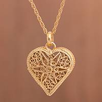 Gold-plated sterling silver filigree locket necklace, 'Splendid Fantasy' - Heart Shaped Gold Plated Filigree Locket Necklace from Peru