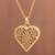 Gold-plated sterling silver filigree locket necklace, 'Splendid Fantasy' - Heart Shaped Gold Plated Filigree Locket Necklace from Peru (image 2) thumbail