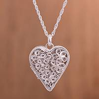 Sterling silver filigree locket necklace, 'Shining Finesse' - Sterling Silver Heart Shaped Filigree Locket Necklace