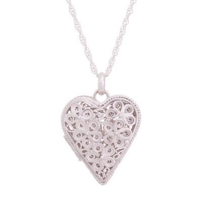 Sterling silver filigree locket necklace, 'Shining Finesse' - Sterling Silver Heart Shaped Filigree Locket Necklace