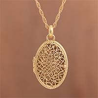 Gold-plated sterling silver filigree locket necklace, 'Shining Fantasy'