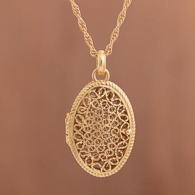 Gold Plated Sterling Silver Filigree Locket Necklace Shining Fantasy 21k