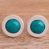 Chrysocolla stud earrings, 'Gracious Splendor' - Sterling Silver and Chrysocolla Stud Earrings from Peru