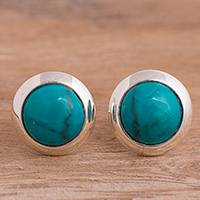Chrysocolla stud earrings, 'Peaceful Splendor' - Sterling Silver and Chrysocolla Stud Earrings from Peru