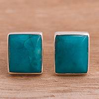 Chrysocolla stud earrings, 'Dreamy Beauty' - Sterling Silver and Chrysocolla Stud Earrings from Peru