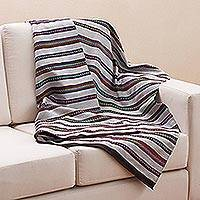 Alpaca blend blanket, 'Cozy Evening' - Hand Woven Striped Alpaca Blend Throw Blanket from Peru
