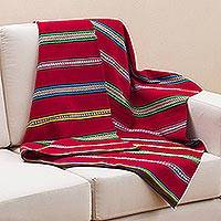 Alpaca blend blanket, 'Cozy Siesta' - Hand Woven Striped Alpaca Blend Throw Blanket from Peru