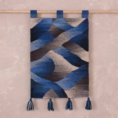 Wool tapestry, 'Waves in Motion' - Hand Woven Blue and Grey Wool Tapestry from Peru