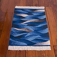 Wool area rug, 'Waves in Motion' (2x3) - Hand Woven Blue Rectangular Wool Area Rug (2x3)