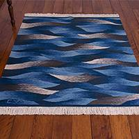 Wool area rug, 'Waves in Motion' (4x4.5) - Hand Woven Blue Rectangular Wool Area Rug (4x4.5)
