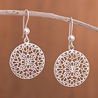Sterling silver dangle earrings, 'Orbit of Petals' - Circular Sterling Silver Dangle Earrings from Peru