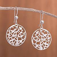 Sterling silver dangle earrings, 'Leafy Mandala' - Leaf Motif Sterling Silver Dangle Earrings from Peru