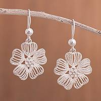 Sterling silver dangle earrings, 'Gleaming Dogwood' - Dogwood Flower Sterling Silver Dangle Earrings from Peru