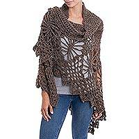 Alpaca blend shawl, 'Majesty of the Andes' - Crocheted Alpaca Blend Shawl in Coffee from Peru