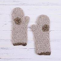 Alpaca blend mittens, 'Tan Flower' - Floral Alpaca Blend Mittens in Tan and Ivory from Peru