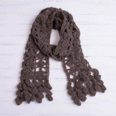 Alpaca blend scarf, 'Chocolate Temptation' - Hand-Crocheted Alpaca Blend Scarf in Chocolate with Frills