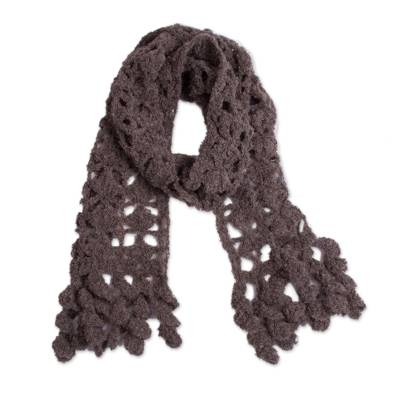 Hand-Crocheted Alpaca Blend Scarf in Chocolate with Frills