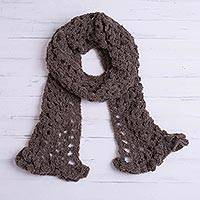 Alpaca blend scarf, 'Chocolate Elegance' - Hand-Crocheted Alpaca Blend Scarf in Chocolate from Peru
