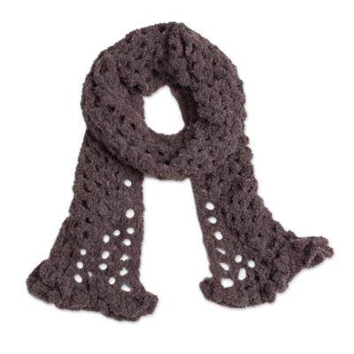 Hand-Crocheted Alpaca Blend Scarf in Chocolate from Peru