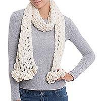 Alpaca blend scarf, 'Off-White Elegance' - Hand-Crocheted Alpaca Blend Scarf in Off-White from Peru