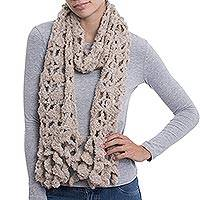 Alpaca blend scarf, 'Ivory Temptation' - Hand-Crocheted Alpaca Blend Scarf in Ivory with Frills