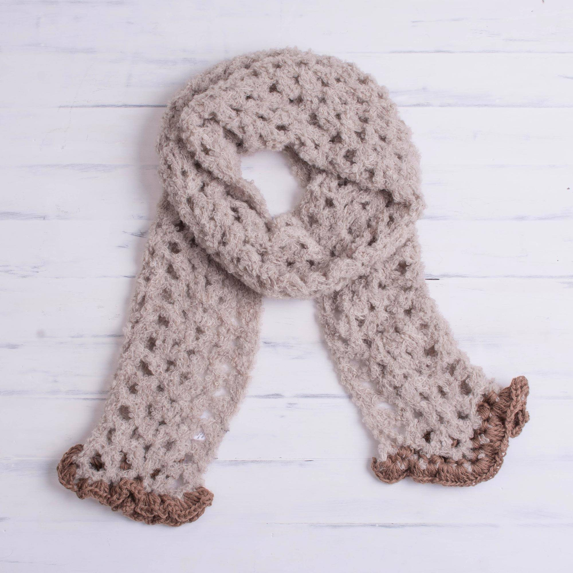 Hand Crocheted Alpaca Blend Scarf In Oyster From Peru Oyster
