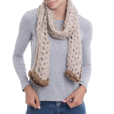 Hand-Crocheted Alpaca Blend Scarf in Oyster from Peru