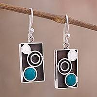 Chrysocolla dangle earrings, 'Green Moon Phase' - Modern Circle Motif Chrysocolla Dangle Earrings from Peru