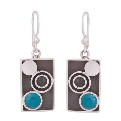 Modern Circle Motif Chrysocolla Dangle Earrings from Peru