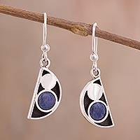 Sodalite dangle earrings, 'Blue Crescent Moon Phase' - Modern Semicircle Sodalite Dangle Earrings from Peru